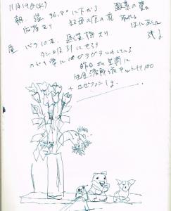 生けた10本のバラと伯母の家の花