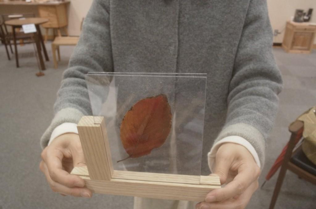 完成したホゾ組みのフォトフレームに、サクラの紅葉を挟んで