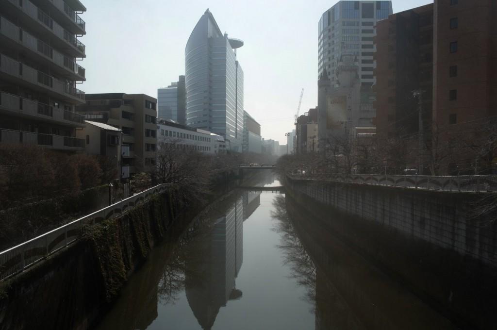 目黒川。この日の東京は18度まで気温が上昇。花粉が目と鼻にきた。