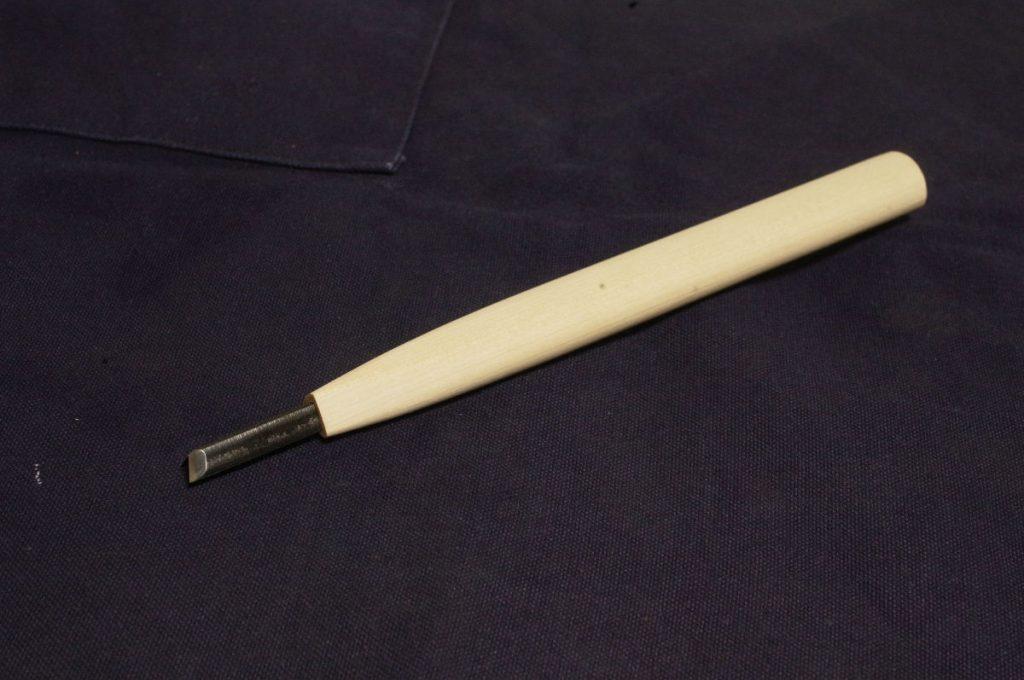 菊一文字で買った2分の三角刀。播州三木のものとのこと。